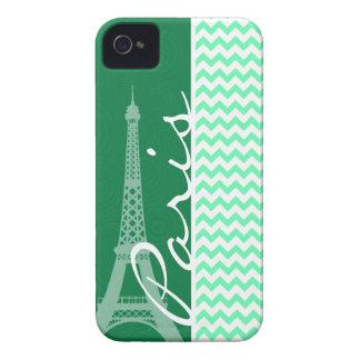 Green Chevron; Paris Case-Mate iPhone 4 Cases