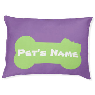 Green Chewed Bone Personalized Large Dog Bed 2