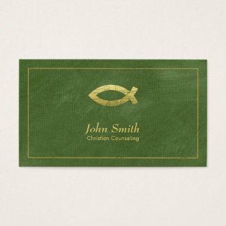 Green Christian Counselor Ichthus Appointment Business Card