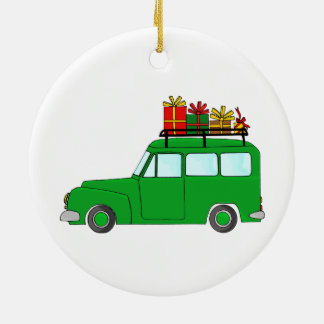 Green Christmas truck with gifts Christmas Ornament