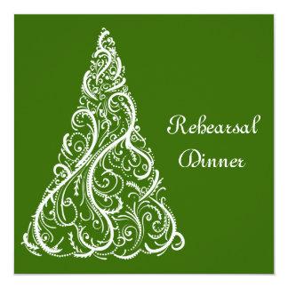 Green Christmas Winter Wedding Rehearsal Dinner 13 Cm X 13 Cm Square Invitation Card