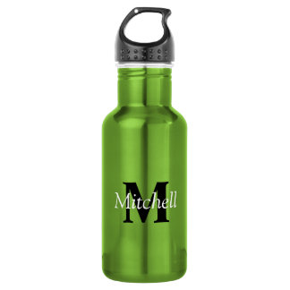 Green Classic Black Monogram Name Personalised 532 Ml Water Bottle