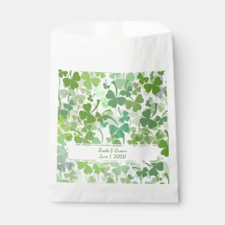 Green Clover All Over Wedding favor bags Favour Bags
