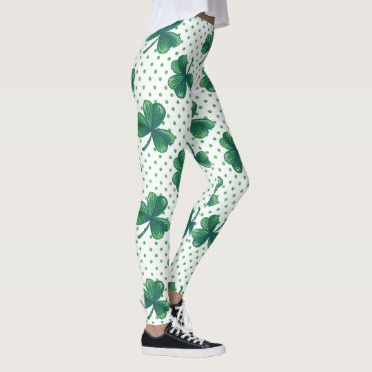 Green Clovers | Polka Dots Pattern Leggings