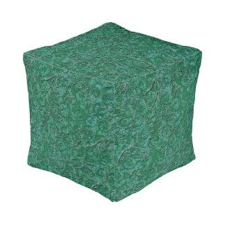 Green Cogs Wheels Steampunk Pouf Cube