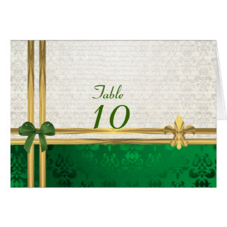 Green & cream damask table number