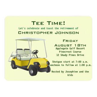 Green Cream Golf Cart Retirement Party Invitation
