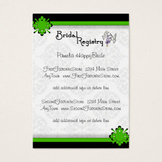 27 bridal store business cards and bridal store business card green crest damask bridal registry cards reheart Images