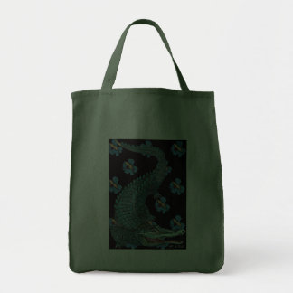 Green Crocodile with blue and gold Art Deco flower Bags