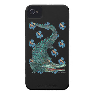 Green Crocodile with blue and gold Art Deco flower iPhone 4 Covers
