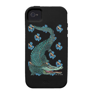 Green Crocodile with blue and gold Art Deco flower iPhone 4/4S Covers