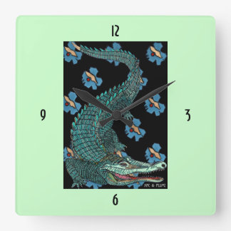 Green Crocodile with blue and gold Art Deco flower Wallclock