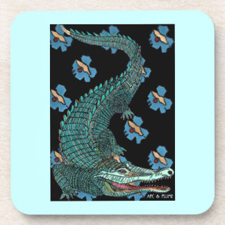 Green Crocodile with blue and gold Art Deco flower Beverage Coasters