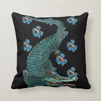 Green Crocodile with blue and gold Art Deco flower Cushion