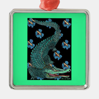 Green Crocodile with blue and gold Art Deco flower Ornament