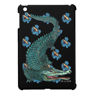 Green Crocodile with blue and gold Art Deco flower iPad Mini Cases