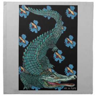 Green Crocodile with blue and gold Art Deco flower Napkin