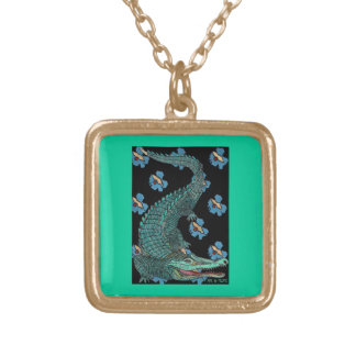 Green Crocodile with blue and gold Art Deco flower Custom Necklace