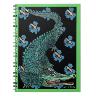 Green Crocodile with blue and gold Art Deco flower Note Book
