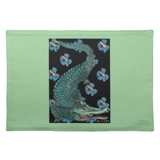 Green Crocodile with blue and gold Art Deco flower Placemat