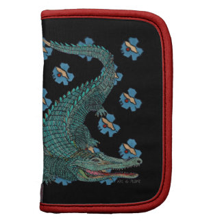 Green Crocodile with blue and gold Art Deco flower Planners