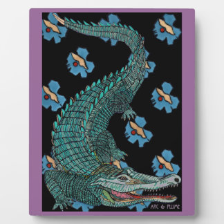 Green Crocodile with blue and gold Art Deco flower Photo Plaques