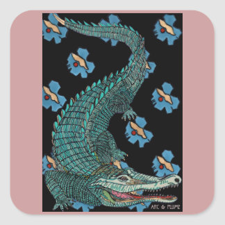 Green Crocodile with blue and gold Art Deco flower Square Sticker