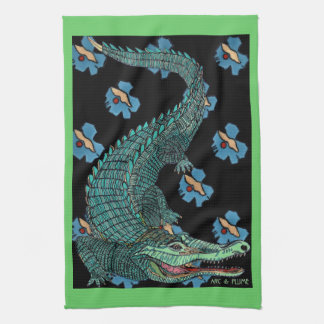 Green Crocodile with blue and gold Art Deco flower Hand Towel