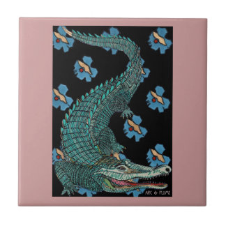 Green Crocodile with blue and gold Art Deco flower Ceramic Tile