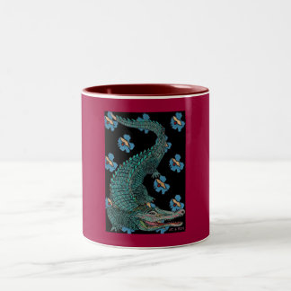 Green Crocodile with blue and gold Art Deco flower Two-Tone Mug
