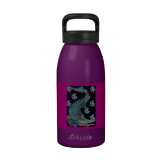 Green Crocodile with blue and gold Art Deco flower Reusable Water Bottle