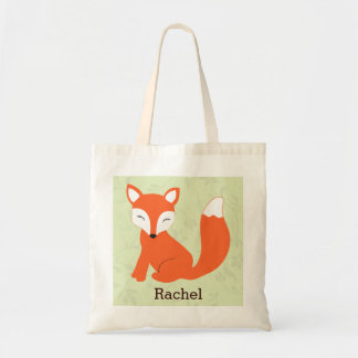 Green Cute Baby Fox Personalized Tote