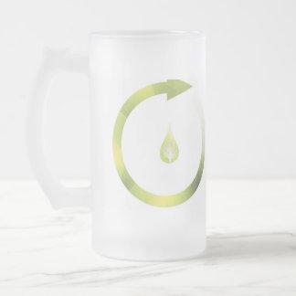 Green Cycle Glass Beer Mug