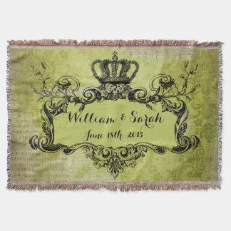 Green Damask Custom Wedding Royal Crown Throw