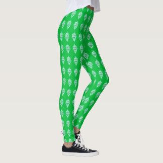 Green Damask Pattern Leggings for Her