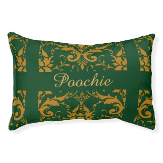 Green Damask personalized dog bed