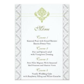 green damask wedding menu personalized invitation