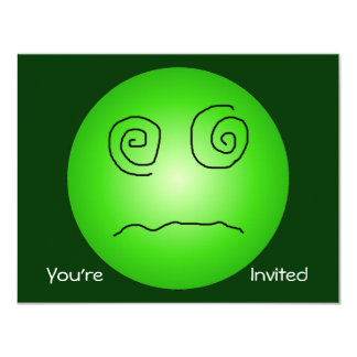 Green Dazed and Confused Smiley Card