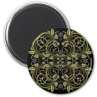green decorative floral pattern 6 cm round magnet