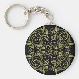 green decorative floral pattern keychains