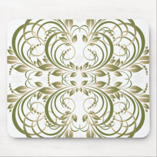 green decorative floral pattern mouse pad