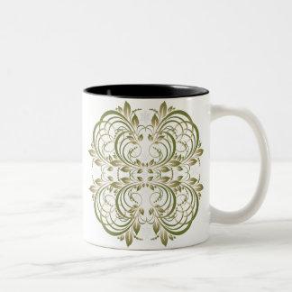 green decorative floral pattern coffee mug