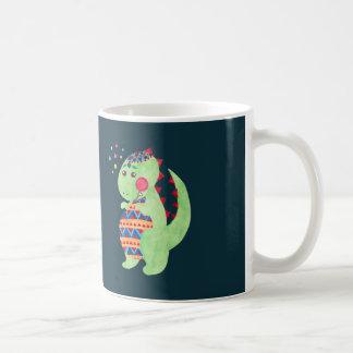 Green Dino Basic White Mug