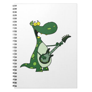 green dino holding guitar graphic notebooks