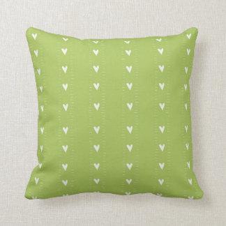 Green Doodle Heart Pattern Throw Cushion