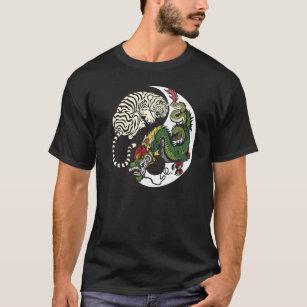 green dragon and white tiger yin yang symbol T-Shirt