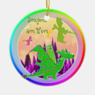 Green Dragons Are Here Cartoon Round Ceramic Decoration