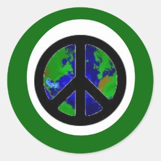 Green Earth Peace Round Sticker