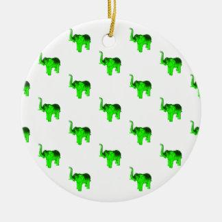 Green Elephants Pattern Christmas Ornament