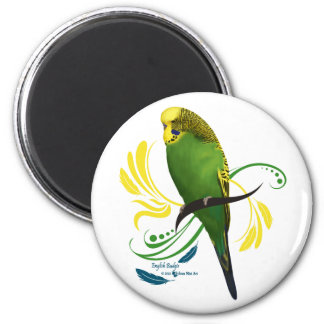 Green English Budgie 6 Cm Round Magnet